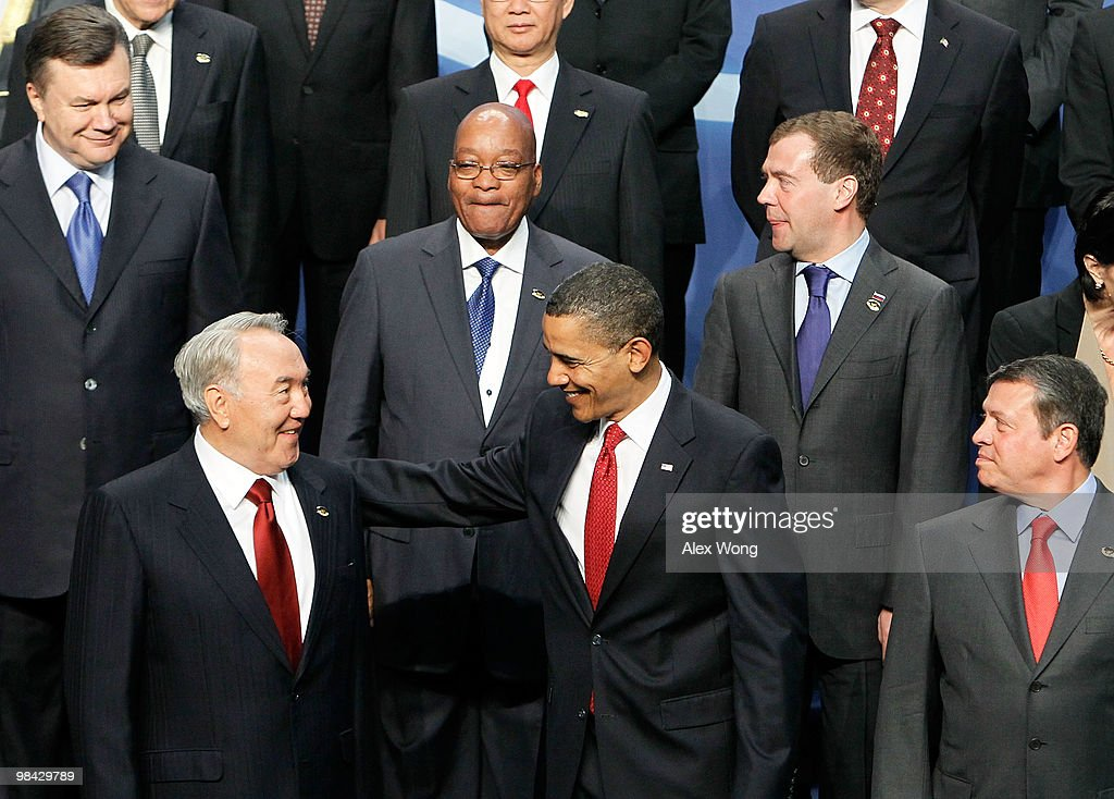 U.S. President Barack Obama (C) greets President of Kazakhstan <a gi-track='captionPersonalityLinkClicked' href=/galleries/search?phrase=Nursultan+Nazarbayev&family=editorial&specificpeople=4556028 ng-click='$event.stopPropagation()'>Nursultan Nazarbayev</a> (L) as King Abdullah II (R) of Jordan, and upper row (L-R), President of Ukraine <a gi-track='captionPersonalityLinkClicked' href=/galleries/search?phrase=Viktor+Yanukovych&family=editorial&specificpeople=717883 ng-click='$event.stopPropagation()'>Viktor Yanukovych</a>, President of South Africa <a gi-track='captionPersonalityLinkClicked' href=/galleries/search?phrase=Jacob+Zuma&family=editorial&specificpeople=564982 ng-click='$event.stopPropagation()'>Jacob Zuma</a>, and President of Russia <a gi-track='captionPersonalityLinkClicked' href=/galleries/search?phrase=Dmitry+Medvedev&family=editorial&specificpeople=554704 ng-click='$event.stopPropagation()'>Dmitry Medvedev</a> look on during the group photo session of the Nuclear Security Summit April 13, 2010 in Washington, DC. Forty-seven countries have gathered at the invitation of the U.S. government to talk about nuclear safety and how to make dangerous materials less accessible to terrorists.