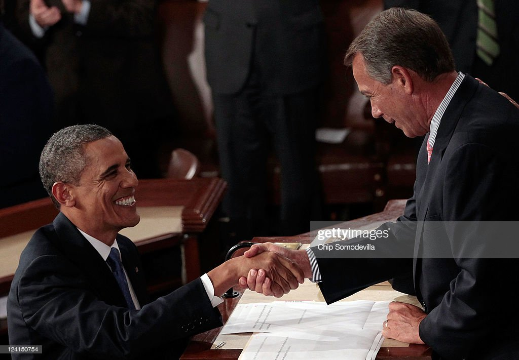 U.S. President <a gi-track='captionPersonalityLinkClicked' href=/galleries/search?phrase=Barack+Obama&family=editorial&specificpeople=203260 ng-click='$event.stopPropagation()'>Barack Obama</a> greets Speaker of the House John Boehner (R-OH) (R) before addressing a Joint Session of Congress at the U.S. Capitol September 8, 2011 in Washington, DC. Obama addressed both houses of the U.S. legislature to highlight his plan to create jobs for millions of out of work Americans.