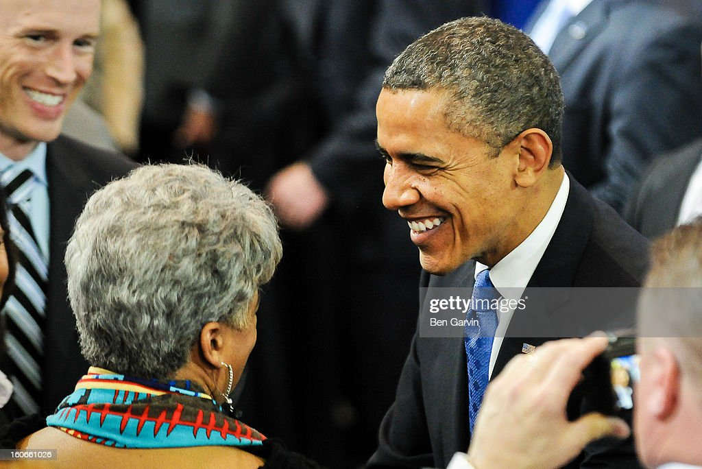 U.S. President <a gi-track='captionPersonalityLinkClicked' href=/galleries/search?phrase=Barack+Obama&family=editorial&specificpeople=203260 ng-click='$event.stopPropagation()'>Barack Obama</a> greets supporters after speaking before a crowd of local leaders and law enforcement officials at the Minneapolis Police Department Special Operations Center on February 4, 2013 in Minneapolis, Minnesota. President Obama is promoting a ban on assault weapons and expanded background checks on gun buyers.