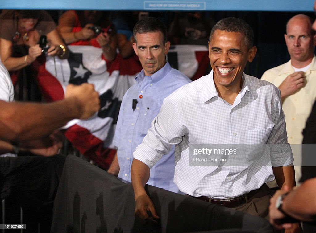 President Barack Obama greets supporters as he arrives at a rally at the Kissimmee Civic Center in Kissimmee Florida Saturday September 8 2012