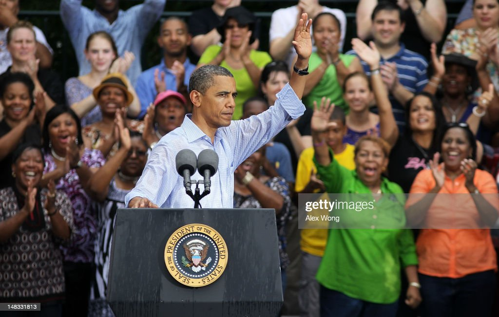 U.S. President <a gi-track='captionPersonalityLinkClicked' href=/galleries/search?phrase=Barack+Obama&family=editorial&specificpeople=203260 ng-click='$event.stopPropagation()'>Barack Obama</a> greets supporters at the end of his ''A Vision for Virginia's Middle Class'' campaign event July 14, 2012 at Walkerton Tavern in Glen Allen, Virginia. On the last day of his two-day campaign across Virginia, Obama continue to discuss his plan to restore middle class security and urged Congress to act on extending tax cuts to middle class families.