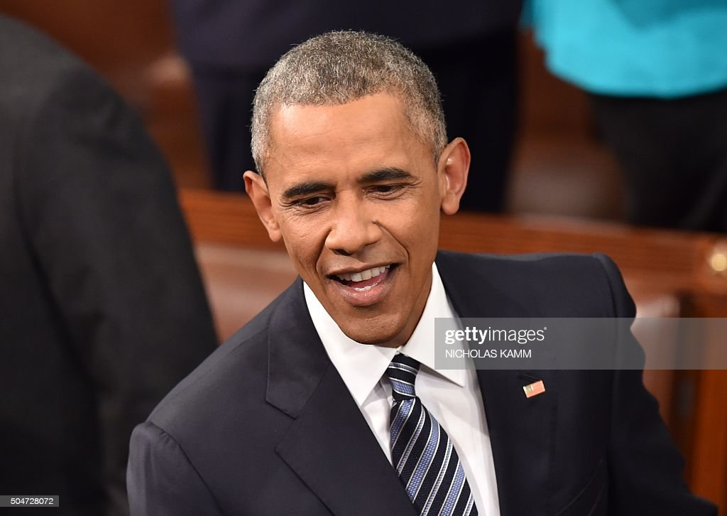 US President Barack Obama greets supporters before the State of the Union at the US Capitol in Washington, DC, on January 12, 2016. Obama gives his final State of the Union address, perhaps the last opportunity of his presidency to sway a national audience and frame the 2016 election.