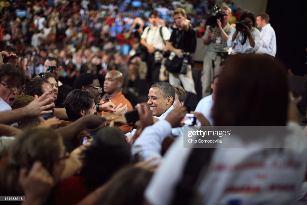 U.S. President <a gi-track='captionPersonalityLinkClicked' href=/galleries/search?phrase=Barack+Obama&family=editorial&specificpeople=203260 ng-click='$event.stopPropagation()'>Barack Obama</a> greets supporters during a campaign event at the Florida Institute of Technology Charles and Ruth Clemente Center September 9, 2012 in Melbourne, Florida. Working with the momentum from this week's Democratic National Convention, Obama is on a two-day campaign swing from one side of Florida to the other on the politically important I-4 corridor.