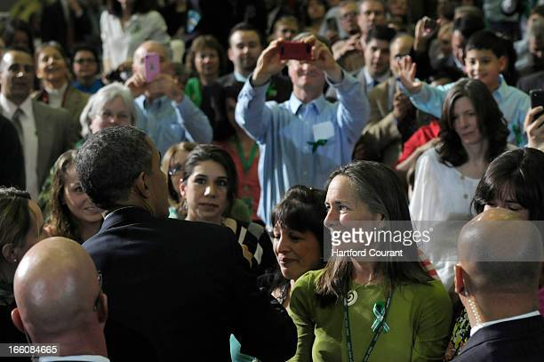 President Barack Obama greets the audience at University of Hartford on Monday April 8 in West Hartford Connecticut On the eve of the gun control...
