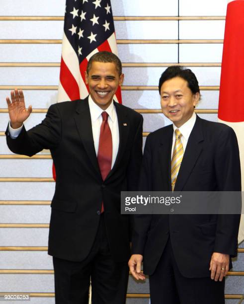 President Barack Obama greets the media with Japanese Prime Minister Yukio Hatoyama at the Prime Minister's official residence on November 13 2009 in...