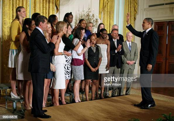 S President Barack Obama greets the NCAA champion University of Connecticut women�s basketball team during a ceremony in the East Room at the White...
