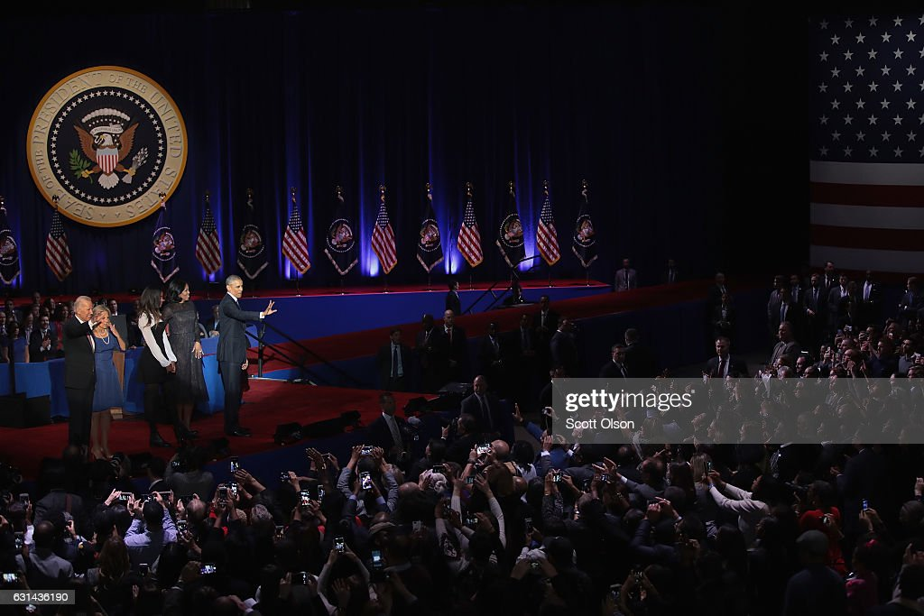 President Barack Obama, his wife Michelle and daughter Malia, and Vice President Joe Biden and his wife Jill greet guest following Obama's farewell speech to the nation on January 10, 2017 in Chicago, Illinois. President-elect Donald Trump will be sworn in the as the 45th president on January 20.