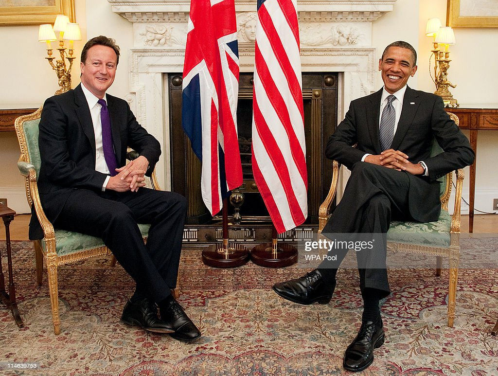 US President Barack Obama (R) holds a bilateral meeting with British Prime Minister David Cameron at 10 Downing Street on May 25, 2011 in London, England. The 44th President of the United States, Barack Obama, and his wife Michelle are in the UK for a two day State Visit at the invitation of HM Queen Elizabeth II. Last night they attended a state banquet at Buckingham Palace and today's events include talks at Downing Street and the President will address both houses of parliament at Westminster Hall.