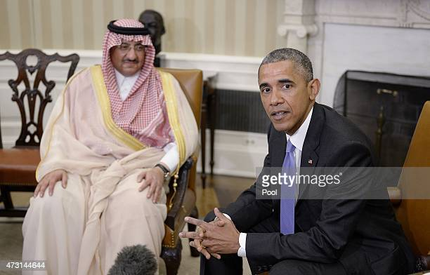 President Barack Obama holds a bilateral meeting with Crown Prince Mohammed bin Nayef of Saudi Arabia in the Oval Office at the White House May 13...