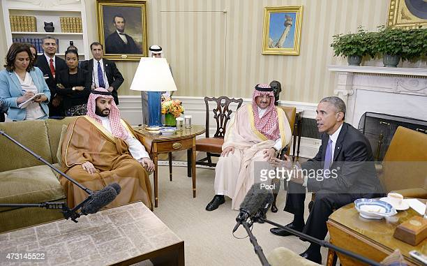 President Barack Obama holds a bilateral meeting with Crown Prince Mohammed bin Nayef and Deputy Crown Prince Mohammed bin Salman of Saudi Arabia in...