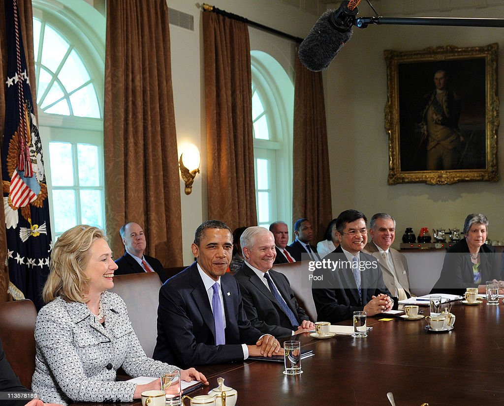 US President <a gi-track='captionPersonalityLinkClicked' href=/galleries/search?phrase=Barack+Obama&family=editorial&specificpeople=203260 ng-click='$event.stopPropagation()'>Barack Obama</a> holds a Cabinet meeting with, from left, Secretary of State <a gi-track='captionPersonalityLinkClicked' href=/galleries/search?phrase=Hillary+Clinton&family=editorial&specificpeople=76480 ng-click='$event.stopPropagation()'>Hillary Clinton</a>, Secretary of Defense Robert Gates, Secretary of Commerce <a gi-track='captionPersonalityLinkClicked' href=/galleries/search?phrase=Gary+Locke&family=editorial&specificpeople=1792234 ng-click='$event.stopPropagation()'>Gary Locke</a>, Secretary of Transportation <a gi-track='captionPersonalityLinkClicked' href=/galleries/search?phrase=Ray+LaHood&family=editorial&specificpeople=598728 ng-click='$event.stopPropagation()'>Ray LaHood</a>, and Secretary of Homeland Security <a gi-track='captionPersonalityLinkClicked' href=/galleries/search?phrase=Janet+Napolitano&family=editorial&specificpeople=589781 ng-click='$event.stopPropagation()'>Janet Napolitano</a>, in the Cabinet Room of the White House, May 3, 2011 in Washington, DC. Earlier President Obama honored the 2011 National Teacher of the Year and State Teachers of the Year in the Rose Garden.