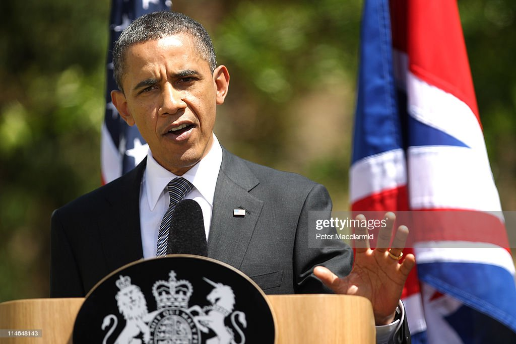 US President Barack Obama holds a joint press conference with British Prime Minister David Cameron (not pictured), at Lancaster House on May 25, 2011 in London, England. The 44th President of the United States Barack Obama and First Lady Michelle Obama are in the UK for a two day State Visit at the invitation of HM Queen Elizabeth II. Last night they attended a state banquet at Buckingham Palace and today's events include talks at Downing Street and the President will address both houses of Parliament at Westminster Hall.
