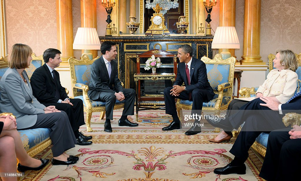 US President <a gi-track='captionPersonalityLinkClicked' href=/galleries/search?phrase=Barack+Obama&family=editorial&specificpeople=203260 ng-click='$event.stopPropagation()'>Barack Obama</a> holds a meeting with Labour leader <a gi-track='captionPersonalityLinkClicked' href=/galleries/search?phrase=Ed+Miliband&family=editorial&specificpeople=4376337 ng-click='$event.stopPropagation()'>Ed Miliband</a> at Buckingham Palace, as Shadow Foreign Secretary <a gi-track='captionPersonalityLinkClicked' href=/galleries/search?phrase=Douglas+Alexander&family=editorial&specificpeople=616758 ng-click='$event.stopPropagation()'>Douglas Alexander</a> (second left), Shadow Secretary of State for International Development, <a gi-track='captionPersonalityLinkClicked' href=/galleries/search?phrase=Harriet+Harman&family=editorial&specificpeople=839866 ng-click='$event.stopPropagation()'>Harriet Harman</a> (left) and US Secretary of State <a gi-track='captionPersonalityLinkClicked' href=/galleries/search?phrase=Hillary+Clinton&family=editorial&specificpeople=76480 ng-click='$event.stopPropagation()'>Hillary Clinton</a> (right) look on, May 24, 2011 in London, England. The 44th President of the United States, <a gi-track='captionPersonalityLinkClicked' href=/galleries/search?phrase=Barack+Obama&family=editorial&specificpeople=203260 ng-click='$event.stopPropagation()'>Barack Obama</a>, and his wife Michelle are in the UK for a two day State Visit at the invitation of HM Queen Elizabeth II. During the trip they will attend a state banquet at Buckingham Palace and the President will address both houses of parliament at Westminster Hall.