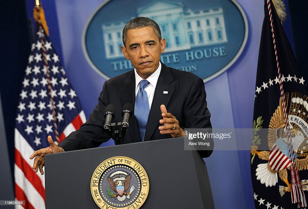U.S. President <a gi-track='captionPersonalityLinkClicked' href=/galleries/search?phrase=Barack+Obama&family=editorial&specificpeople=203260 ng-click='$event.stopPropagation()'>Barack Obama</a> holds a news conference at the Brady Press Briefing Room at the White House July 11, 2011 in Washington, DC. President Obama discussed the ongoing budget and debit limit negotiations with Congressional Republicans and Democrats.