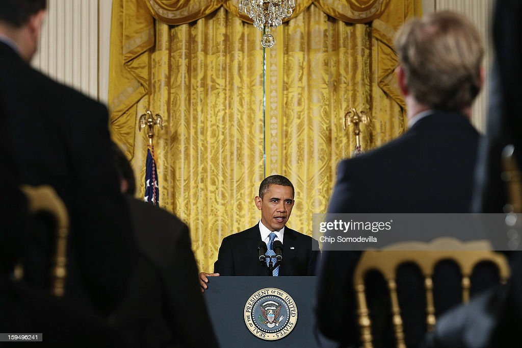 U.S. President <a gi-track='captionPersonalityLinkClicked' href=/galleries/search?phrase=Barack+Obama&family=editorial&specificpeople=203260 ng-click='$event.stopPropagation()'>Barack Obama</a> holds a news conference in the East Room of the White House January 14, 2013 in Washington, DC. This is Obama's final press conference of his first presidential term.
