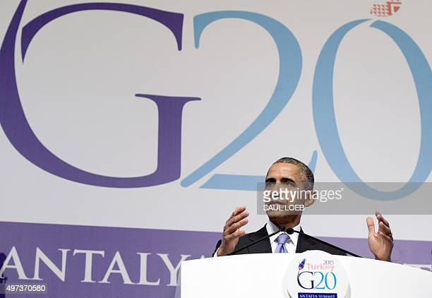 US President Barack Obama holds a press conference following the G20 summit in Antalya on November 16 2015 World leaders on November 16 committed to...