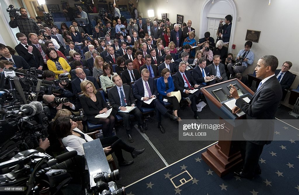 US President <a gi-track='captionPersonalityLinkClicked' href=/galleries/search?phrase=Barack+Obama&family=editorial&specificpeople=203260 ng-click='$event.stopPropagation()'>Barack Obama</a> holds a press conference in the Brady Press Briefing Room at the White House in Washington, DC, December 20, 2013. President <a gi-track='captionPersonalityLinkClicked' href=/galleries/search?phrase=Barack+Obama&family=editorial&specificpeople=203260 ng-click='$event.stopPropagation()'>Barack Obama</a> said Friday he welcomed a debate on the role of the National Security Agency, but that leaks by Edward Snowden had caused 'unnecessary damage' to US intelligence capabilities.Obama refused to be drawn at a year-end press conference on the possibility of amnesty or a presidential pardon for the fugitive IT contractor, who has been indicted on espionage charges. AFP PHOTO / Saul LOEB