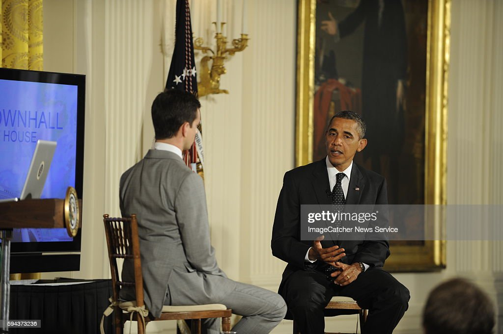President Barack Obama holds a Twitter Town Hall moderated by Jack Dorsey Twitter cofounder and Executive Chairman in the East Room of the White House
