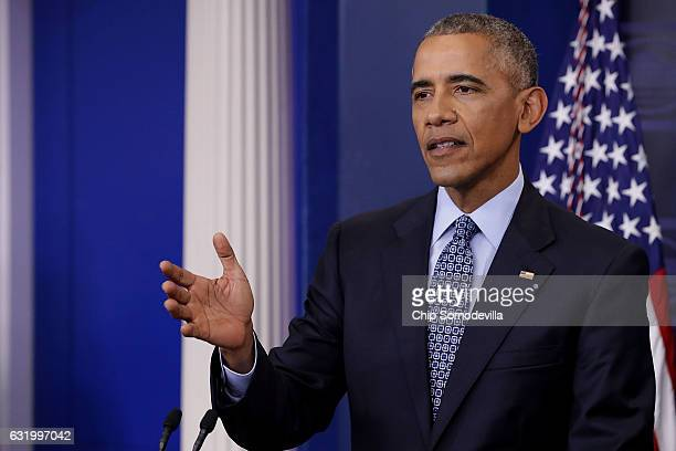 S President Barack Obama holds the last news conference of his presidency in the Brady Press Briefing Room at the White House January 18 2017 in...