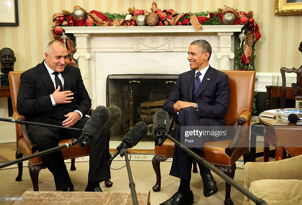 U.S. President <a gi-track='captionPersonalityLinkClicked' href=/galleries/search?phrase=Barack+Obama&family=editorial&specificpeople=203260 ng-click='$event.stopPropagation()'>Barack Obama</a> (R) hosts a bilateral meeting with Prime Minister Boyko Borissov of Bulgaria in the Oval Office of the White House on December 03, 2012 in Washington, DC. Several issues will be discussed, including Bulgaria's leadership in NATO, and updates on Bulgaria's investigation on the 2012 terrorist attack in Burgas.