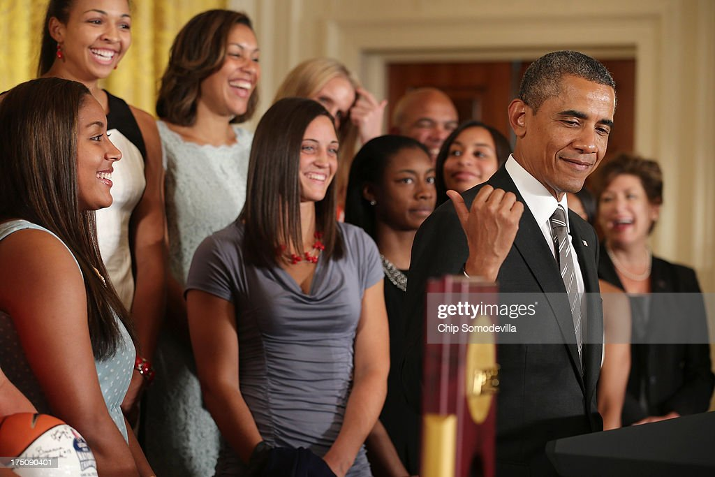 President <a gi-track='captionPersonalityLinkClicked' href=/galleries/search?phrase=Barack+Obama&family=editorial&specificpeople=203260 ng-click='$event.stopPropagation()'>Barack Obama</a> (2nd R) hosts the 2013 NCAA champion University of Connecticut Huskies Women's basketball players in the East Room of the White House July 31, 2013 in Washington, DC. Obama hosted the team after they defeated the University of Louisville on April 9 to win their eighth national championship.