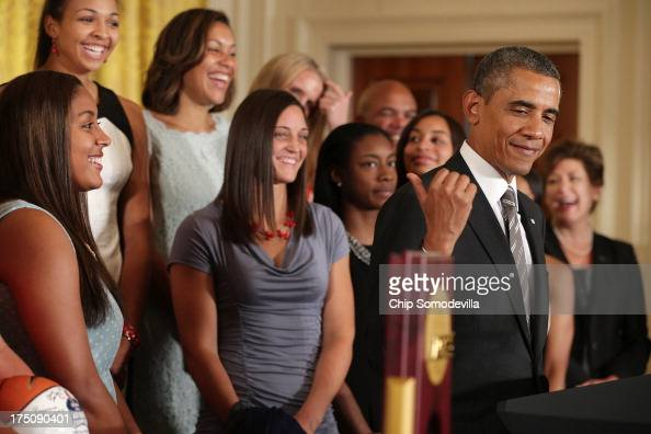 President Barack Obama hosts the 2013 NCAA champion University of Connecticut Huskies Women's basketball players in the East Room of the White House...