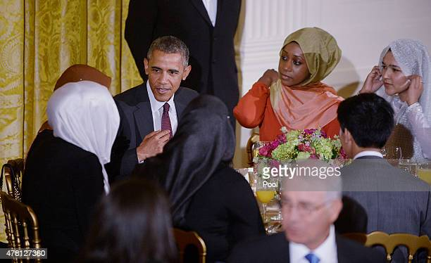 S President Barack Obama hosts the annual Iftar dinner celebrating the Muslim holy month of Ramadan in the East Room of the White House July 22 2015...