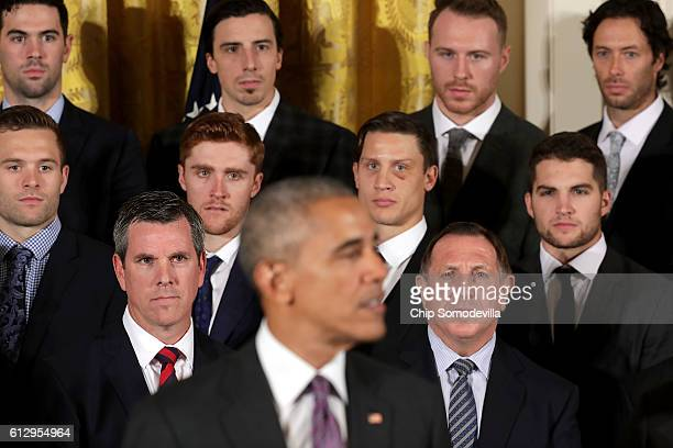 S President Barack Obama hosts the National Hockey League champion Pittsburgh Penguins to celebrate their Stanley Cup victory in the East Room of the...