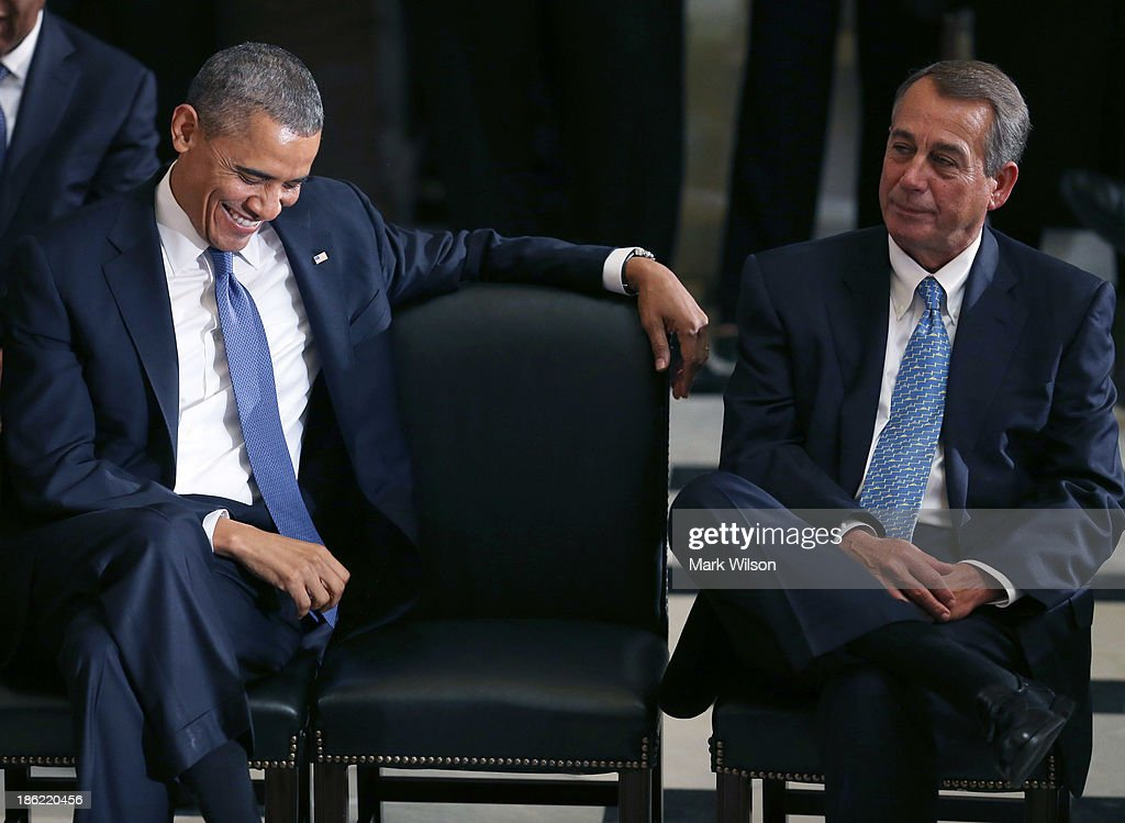 U.S. President Barack Obama (L) House Speaker John Boehner (R-OH) listen to speakers talk about former House Speaker Tom Foley (D-WA) during a memorial service at the U.S. Capitol, October 29, 2013 in Washington, DC. President Obama and members of Congress gathered for a Congressional Memorial Service celebrating the life of former House Speaker Tom Foley (D-WA) who died on October 18.