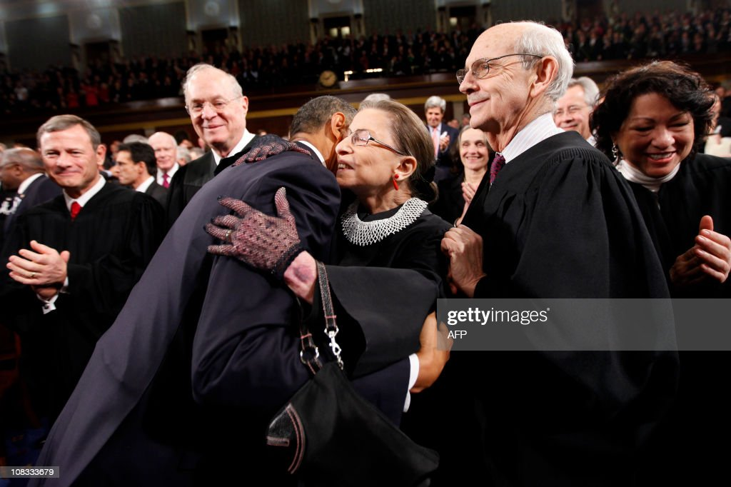 President Barack Obama hugs Justice Ruth Bader Ginsburg on Capitol Hill in Washington Tuesday Jan 25 prior to delivering his State of the Union...