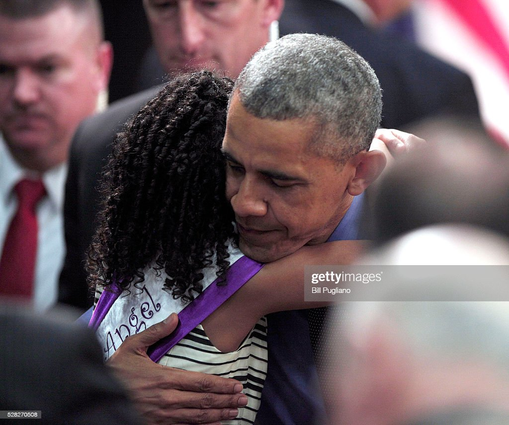 U.S. President <a gi-track='captionPersonalityLinkClicked' href=/galleries/search?phrase=Barack+Obama&family=editorial&specificpeople=203260 ng-click='$event.stopPropagation()'>Barack Obama</a> hugs Maryanna Copeny of Flint, Michigan, age 8, after speaking at Northwest High School about the Flint water contamination crisis on May 4, 2016 in Flint, Michigan. While in Flint, the President heard first-hand from residents about the water crisis, and received an in-person briefing on the federal efforts that are in place to help respond to the needs of the city's residents.