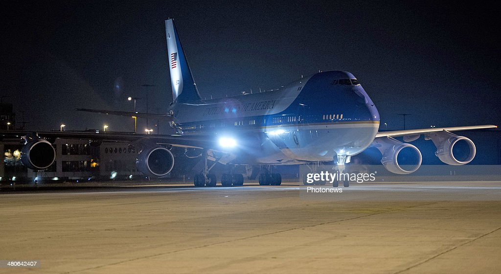US President Barack Obama iarrives on Air Force One at Zaventem Airport on March 25, 2014 in Brussels, Belgium. Obama is on a week-long trip during which he will visit the Netherlands, Belgium, Italy and Saudi Arabia.