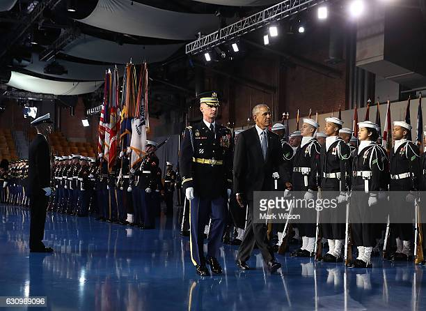 President Barack Obama inspects the troops during a Armed Forces Full Honor Farewell ceremony at Conmy Hall January 4 2017 at Joint Base...
