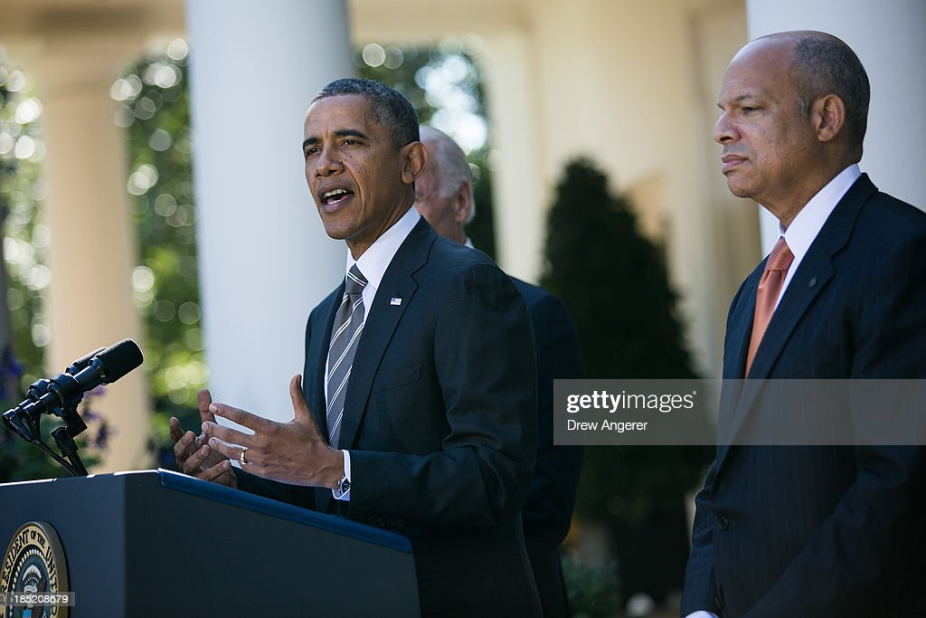 U.S. President <a gi-track='captionPersonalityLinkClicked' href=/galleries/search?phrase=Barack+Obama&family=editorial&specificpeople=203260 ng-click='$event.stopPropagation()'>Barack Obama</a> introduces Jeh Johnson(R) as his nominee to be the next Secretary of the Department of Homeland Security, in the Rose Garden of the White House, October 18, 2013 in Washington, DC. The Department of Homeland Security has been without a Senate-confirmed leader for six weeks.