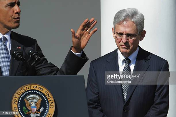 S President Barack Obama introduces Judge Merrick Garland as his nominee to replace the late Supreme Court Justice Antonin Scalia in the Rose Garden...
