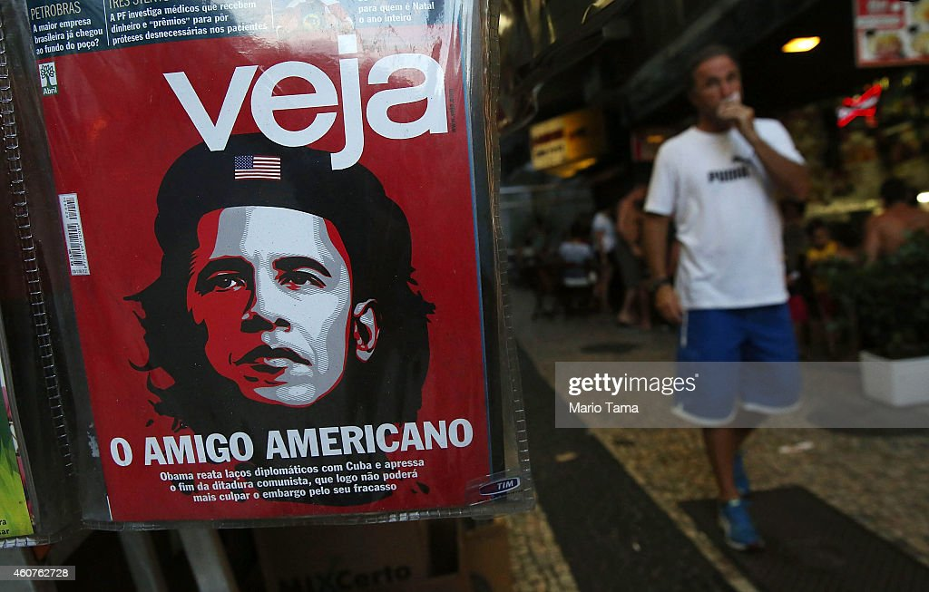U.S. President Barack Obama is caricatured as Marxist revolutionary Ernesto 'Che' Guevara, an iconic symobol of Cuba's revolution, on the cover of Brazil's conservative magazine Veja December 21, 2014 in Rio de Janeiro, Brazil. The headline reads 'The American Friend' and follows Obama's decision to liberalize relations with Cuba.