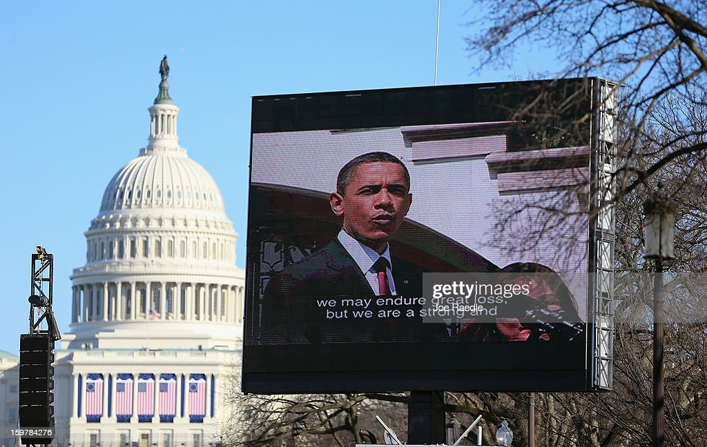 U.S. President Barack Obama is displayed on a jumbotron setup on the National Mall for the Inauguration ceremony on January 20, 2013 in Washington, DC. The U.S. capital is preparing for the second inauguration of U.S. President Barack Obama, which will take place on January 21.