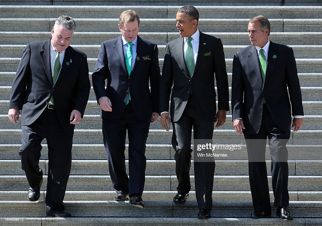 U.S. President Barack Obama (2nd R) is escorted by (L-R) Rep. Peter King (R-NY), Irish Prime Minister Edna Kenny and U.S. Speaker of the House John Boehner (R-OH) while leaving the U.S. Capitol on March 19, 2013 in Washington, DC. Obama and Kenny attended the annual Friends of Ireland luncheon, which usually coincides with St. Patricks's Day, hosted by the House of Representatives at the U.S. Capitol.