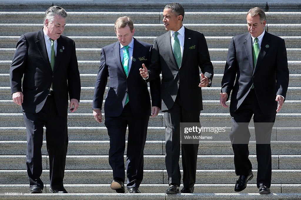 S President Barack Obama is escorted by Rep Peter King Irish Prime Minister Edna Kenny and US Speaker of the House John Boehner while leaving the US...