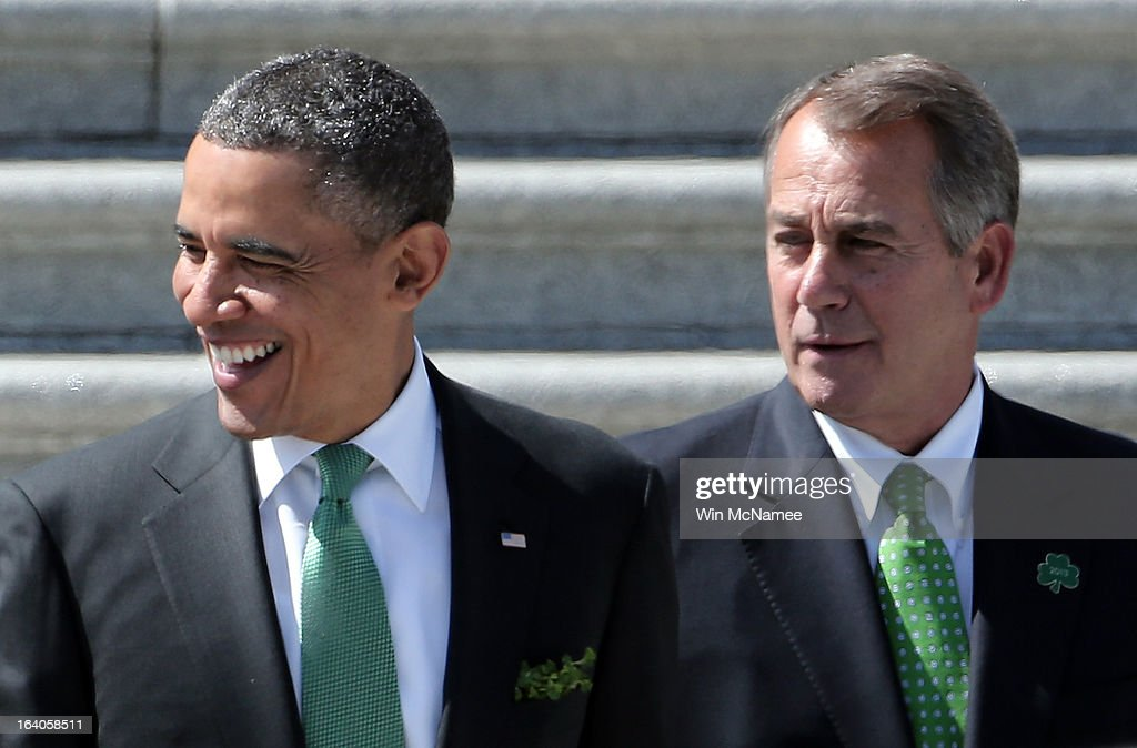 U.S. President <a gi-track='captionPersonalityLinkClicked' href=/galleries/search?phrase=Barack+Obama&family=editorial&specificpeople=203260 ng-click='$event.stopPropagation()'>Barack Obama</a> (L) is escorted by U.S. Speaker of the House John Boehner (R-OH) while leaving the U.S. Capitol on March 19, 2013 in Washington, DC. Obama and Kenny attended the annual Friends of Ireland luncheon, which usually coincides with St. Patricks's Day, hosted by the House of Representatives at the U.S. Capitol.