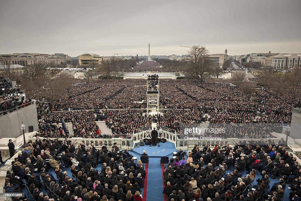 S President Barack Obama is inaugurated for a second term as President on the West Front of the US Capitol January 21 2013 in Washington DC