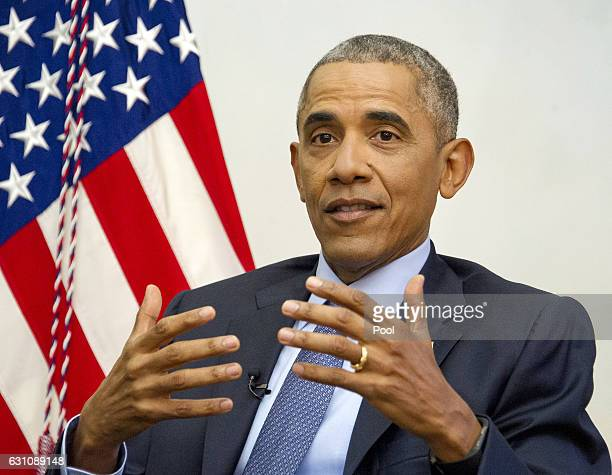 US President Barack Obama is interviewed by Vox at the Blair House on January 6 2017 in Washington DC The president discussed the future of Obamacare...