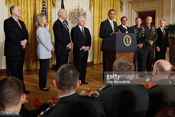 S President Barack Obama is joined by National Security Advisor Tom Donilon Secretary of State Hillary Clinton Vice President Joe Biden Defense...