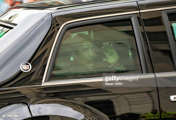 President Barack Obama is seen arriving to the 'Jimmy Kimmel Live' show on October 24 2016 in Los Angeles California