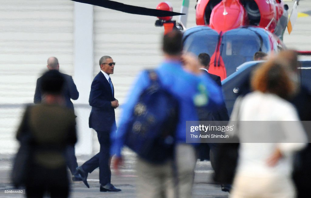 U.S. President Barack Obama is seen at the Hirosihma Heliport on the way to the Hiroshima Peace Memorial Park on May 27, 2016 in Hiroshima, Japan. Obama becomes the first sitting U.S. president to visit Hiroshima, where the first atomic bomb was dropped in 1945 at the end of World War II.