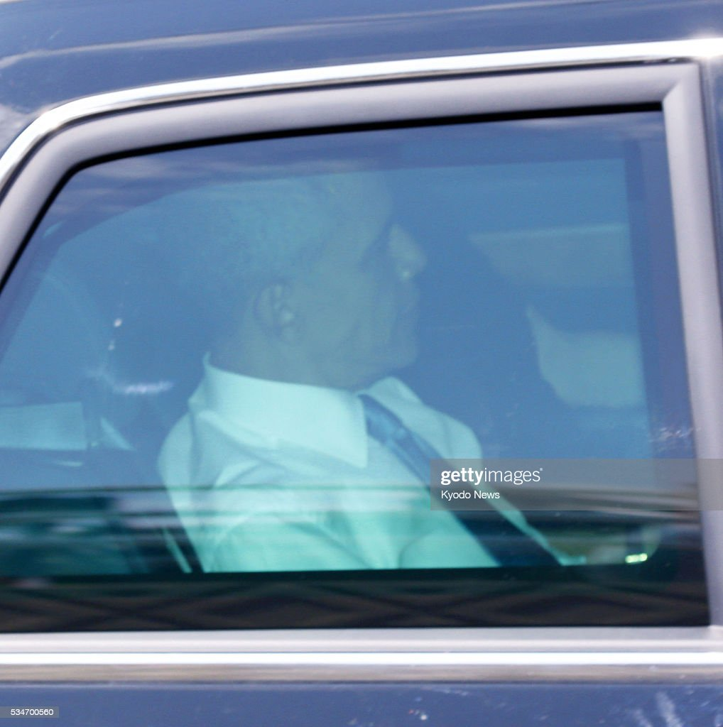 U.S. President <a gi-track='captionPersonalityLinkClicked' href=/galleries/search?phrase=Barack+Obama&family=editorial&specificpeople=203260 ng-click='$event.stopPropagation()'>Barack Obama</a> is seen inside a car on his way to a heliport in the central Japan city of Shima on May 27, 2016. Obama will visit Hiroshima later in the day to become the first American head of state to do so since the United States dropped an atomic bomb on the city in August 1945.