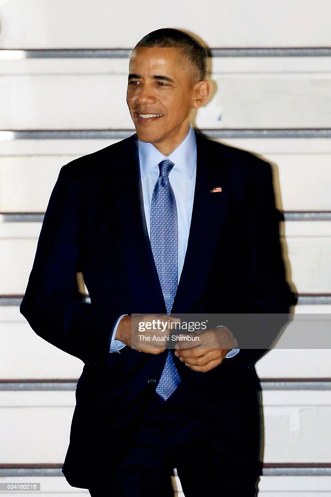 U.S. President <a gi-track='captionPersonalityLinkClicked' href=/galleries/search?phrase=Barack+Obama&family=editorial&specificpeople=203260 ng-click='$event.stopPropagation()'>Barack Obama</a> is seen on arrival at the Centrair International Airport on May 25, 2016 in Tokoname, Aichi, Japan. The Group of Seven summit takes place on May 26 and 27 to discuss key global issues such as global economy and anti terrorism measures.
