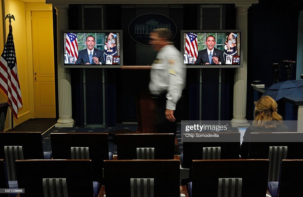 U.S. President Barack Obama is seen on television monitors in the Brady Press Briefing Room at the White House while delivering a national address about the BP Deepwater Horizon oil spill June 15, 2010 in Washington, DC. Obama told the nation that the spill is a wake-up call and the country should change the way energy is produced and used.