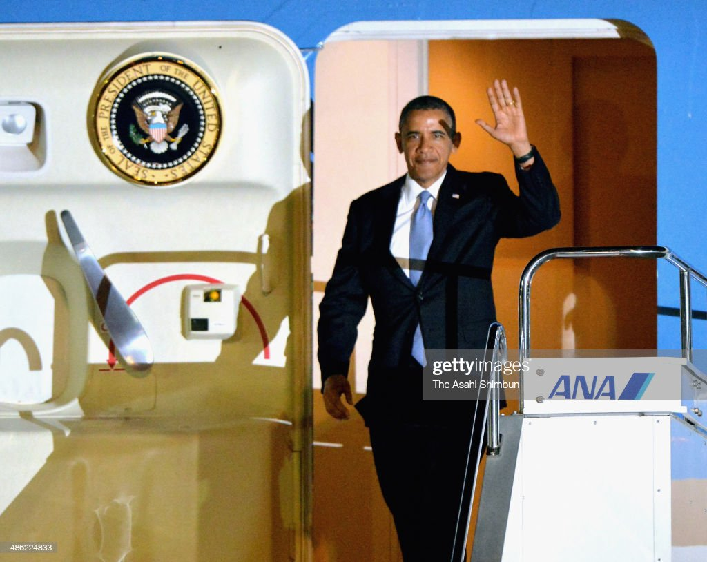 U.S. President <a gi-track='captionPersonalityLinkClicked' href=/galleries/search?phrase=Barack+Obama&family=editorial&specificpeople=203260 ng-click='$event.stopPropagation()'>Barack Obama</a> is seen upon arrival at Tokyo International Airport on April 23, 2014 in Tokyo, Japan. The U.S. President is on an Asian tour where he is due to visit Japan, South Korea, Malaysia and Philippines.