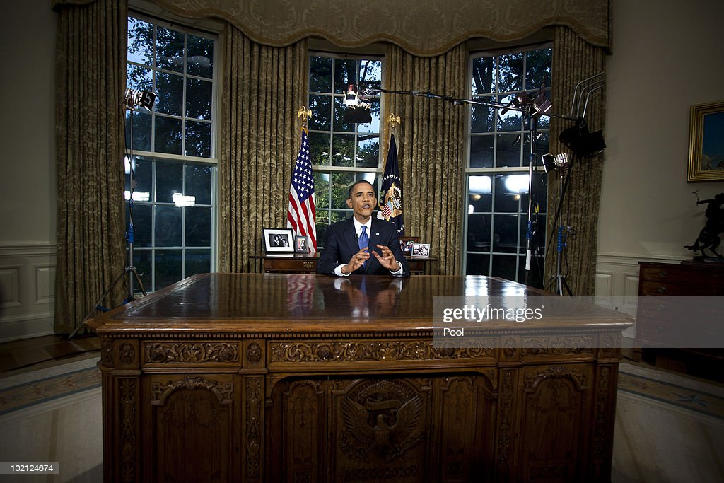 U.S. President Barack Obama is shown after delivering his first Oval Office address at the White House June 15, 2010 in Washington DC. Obama used the speech to press for compensation from BP for those 'harmed by the Gulf oil spill,' and to call for a comprehensive energy bill.